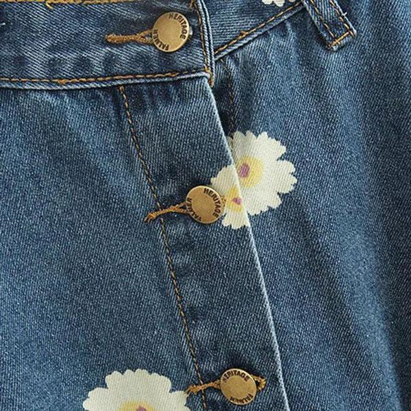 กระโปรงแฟชั่นวินเทจ ผ้ายีนส์ฟอกนิ่มลายดอก ผ่ากระดุม