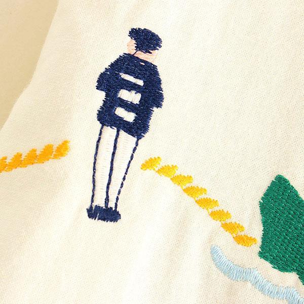 เสื้อเชิ้ตแขนยาว ผ้าทอนิ่มปักลายวินเทจ