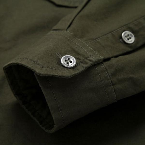 เสื้อเชิ้ตแขนยาวผ้าทอ ปักลายแฟชั่นสไตล์ทหาร