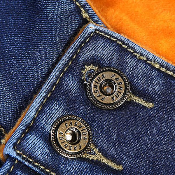 กางเกงยีนส์กันหนาว ทรงสลิม รุ่นหนาซับกำมะหยี่