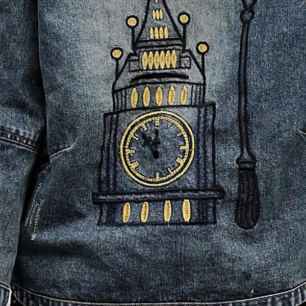 เสื้อแจ็คเก็ตยีนส์ฟอกนิ่ม มีฮู้ด หลังปักลายหอนาฬิกา