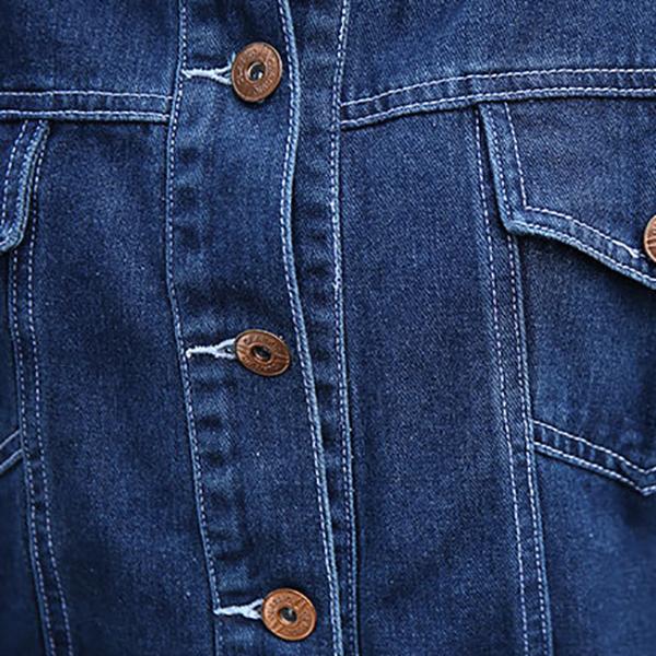 เสื้อแจ็คเก็ตแฟชั่นสรีท ยีนส์ฟอกนิ่มแขนยาว แต่งปักลายด้านหลัง
