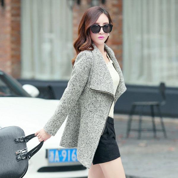 เสื้อโค้ทกันหนาวกึ่งสูท ผ้าทอหนา แต่งซิปผ่าเฉียง