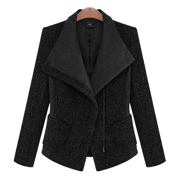 เสื้อโค้ทกันหนาวกึ่งสูท คอปกใหญ่ ผ้าวูลเนื้อหนาแต่งกระเป๋าคู่