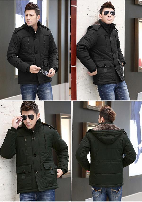 เสื้อโค้ทผู้ชายกันหนาวติดลบ แต่งเฟอร์ ฮู้ดถอดได้ (10112MM)