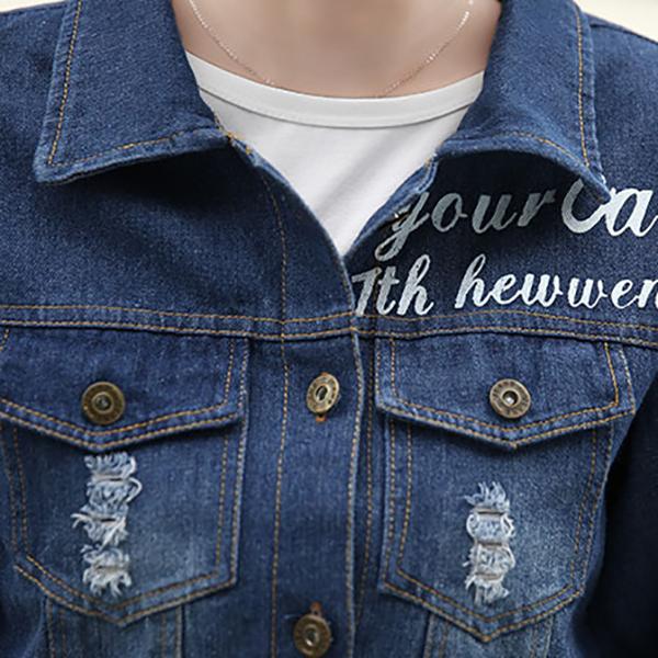 เสื้อแจ็คเก็ตยีนส์ฟอกนิ่ม มีกระเป๋าคู่ หลังปักลายดาว เสื้อกันหนาวแฟชั่น