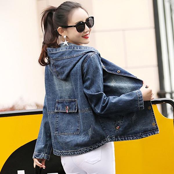 เสื้อแจ็คเก็ตยีนส์ฟอกนิ่ม มีฮู้ด แต่งกระเป๋าใหญ่กลางหลัง