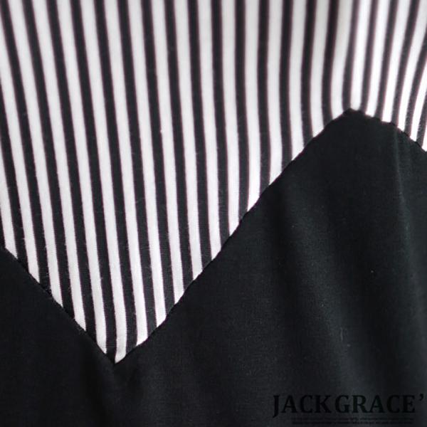 เดรสลายทางตัดสีพื้น แขนสามส่วน JACKGRACE