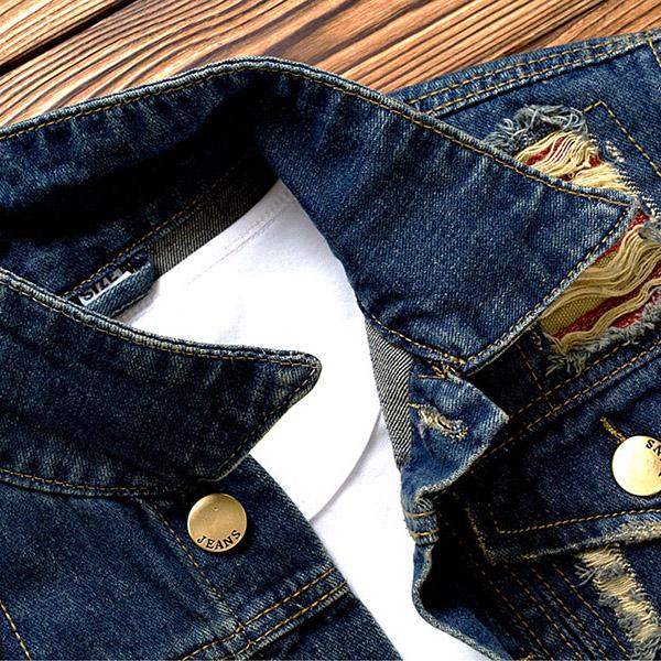 เสื้อแจ็คเก็ตยีนส์ฟอกสีเซอร์ แต่งกระเป๋าคู่ เสื้อกันหนาวพร้อมส่ง