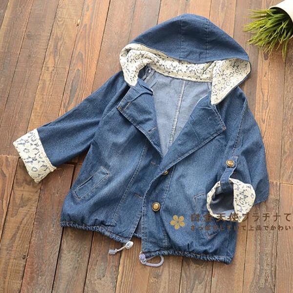 เสื้อแจ็คเก็ตกันหนาว มีฮู้ดแต่งผ้าลายลูกไม้สไตล์วินเทจ