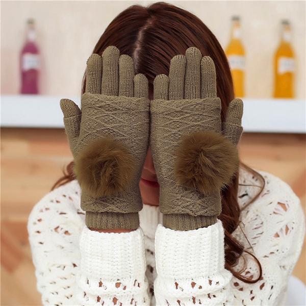 ถุงมือกันหนาว ไหมพรมนิ่มถักลาย แต่งเฟอร์ขนกระต่ายแท้