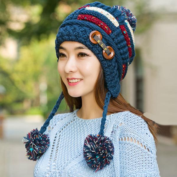 หมวกไหมพรมปิดหู แต่งปอมใหญ่ ซับผ้าขนนุ่มกันหนาว