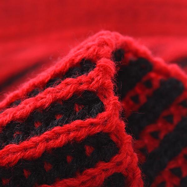 ผ้าพันคอผืนยาว ไหมพรมหนานุ่มถักสลับสี แฟชั่นหน้าหนาว