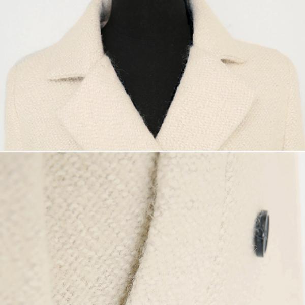 เสื้อโค้ทกันหนาวตัวยาว ทรงสูท ผ้าทอหนา แต่งกระเป๋าคู่