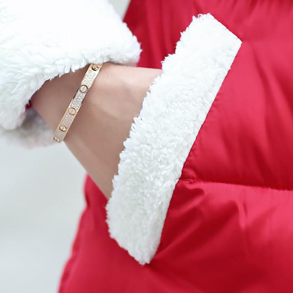 เสื้อโค้ทกันหนาวบุนวมอุ่น มีฮู้ดผ้าขนนุ่ม แต่งกระเป๋าคู่