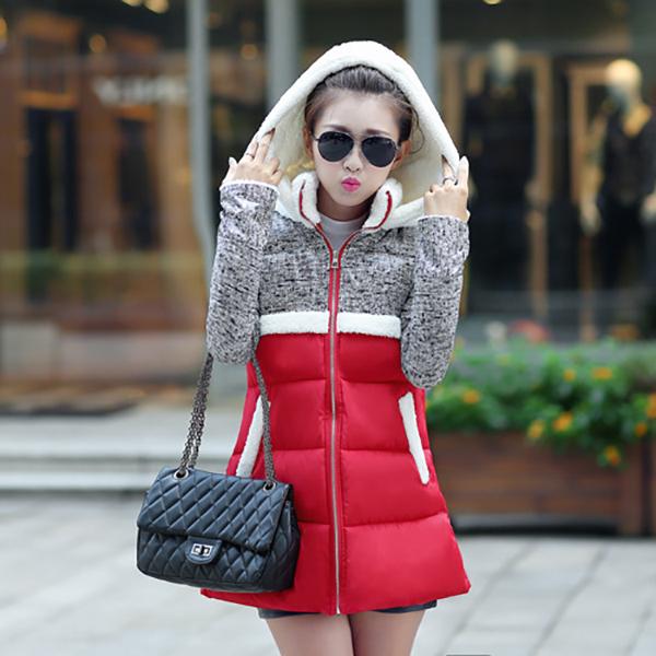 เสื้อโค้ทกันหนาวกันหิมะ ฮู้ดผ้าขนแกะ แต่งกระเป๋าคู่