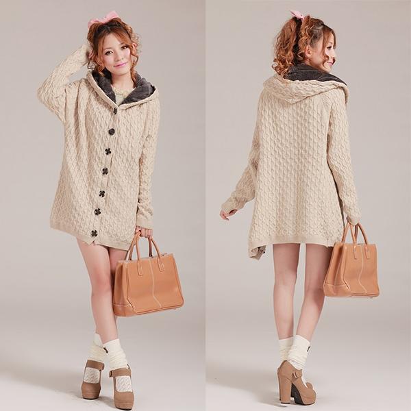 เสื้อโค้ทกันหนาวไหมพรมถักลายนูน มีฮู้ด ซับขนกระต่าย