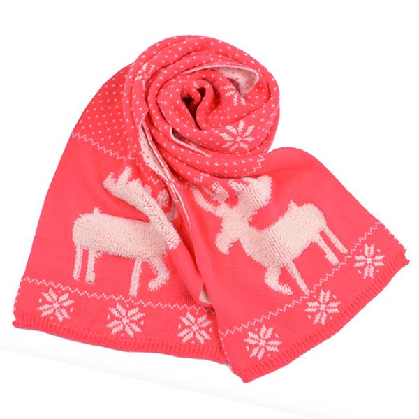 ผ้าพันคอไหมพรมกันหนาวถักลายกวาง ใช้ได้สองด้าน