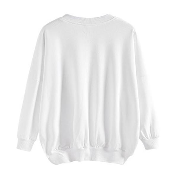 เสื้อสเวตเตอร์กันหนาว คอวี ผ้าคอตตอนพิมพ์ลายอักษร