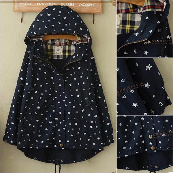 เสื้อแจ็คเก็ตกันหนาวลายดาว มีฮู้ด ซับผ้าลายสก็อต (11822LM)