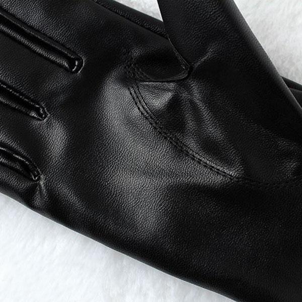 ถุงมือหนังกันหนาวแต่งเฟอร์แท้ แบบทัชสกรีนได้