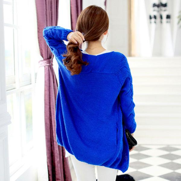 เสื้อคลุมกันหนาว ไหมพรมนิ่มถักลายนูน ผ่าหน้าแบบปล่อย