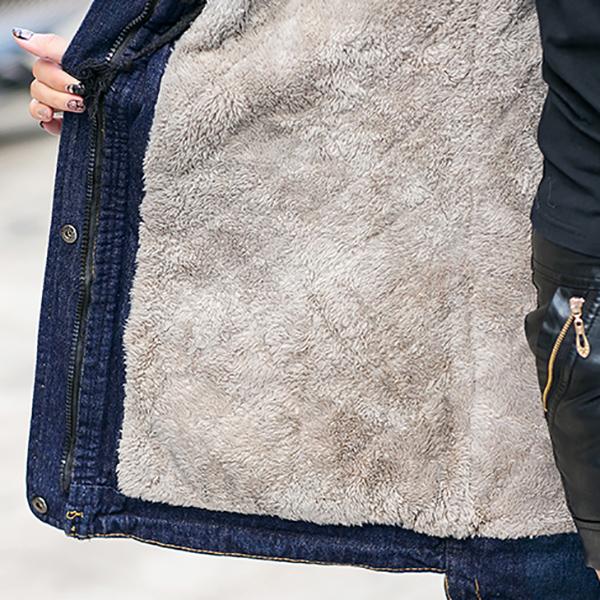 เสื้อโค้ทกันหนาวรุ่นหนาลุยหิมะ ผ้ายีนส์บุขนนุ่ม ฮู้ดแต่งเฟอร์ถอดได้