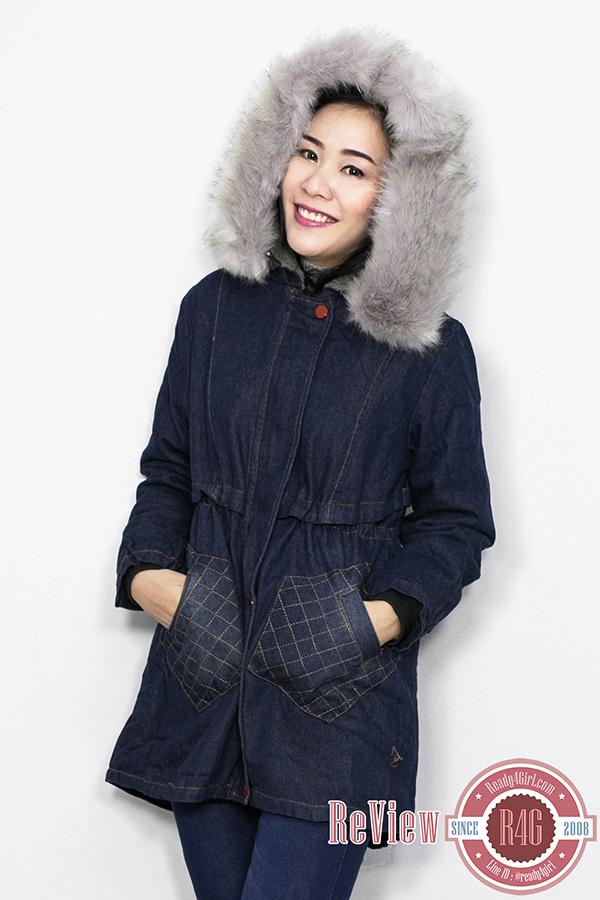 PREMIUM COAT เสื้อโค้ทยีนส์บุขนกันหนาวติดลบ ฮู้ดแต่งเฟอร์ถอดได้ (11848X)