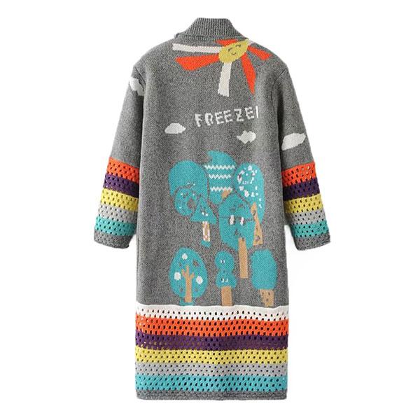 เสื้อคลุมไหมพรมกันหนาวตัวยาว  ถักลายวินเทจ