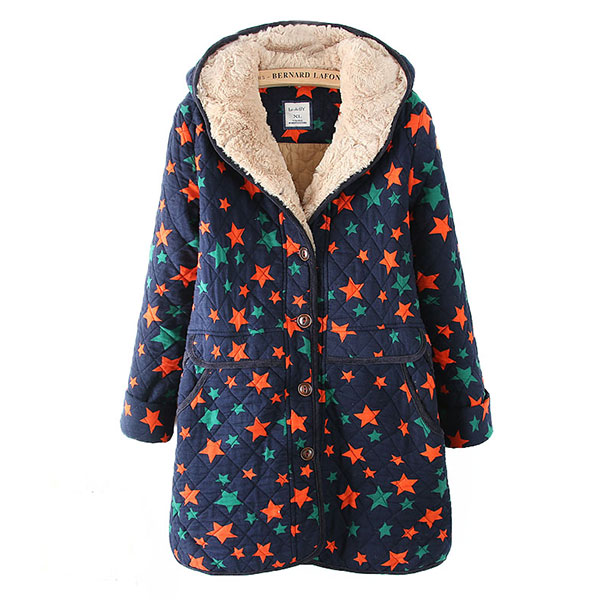 เสื้อโค้ทกันหนาววินเทจ ผ้าทอลายดาว มีฮู้ดซับผ้าขนนุ่ม