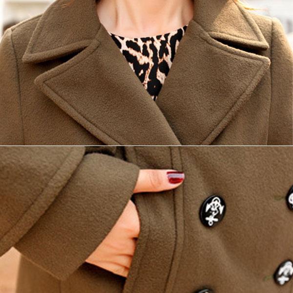 เสื้อโค้ทกันหนาว ผ้าวูลเนื้อหนาแต่งกระดุมแถวคู่