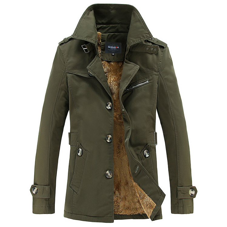 เสื้อโค้ทกันหนาวบุขนหนานุ่ม คอปก แต่งสายเข็มขัด (10149MM)