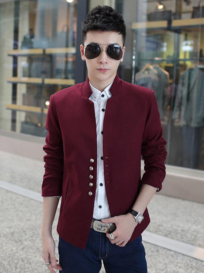 เสื้อสูทกันหนาวสำหรับผู้ชาย คอปก แต่งกระดุม (10157MM)