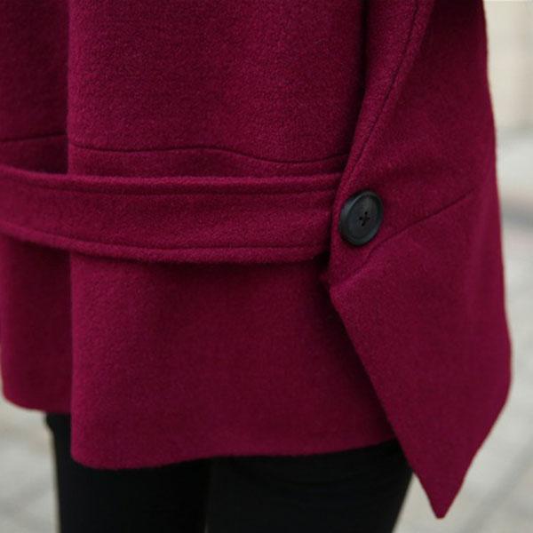 เสื้อโค้ทกันหนาวทรงสูท ผ้าวูลขนแกะหนานุ่ม แต่งกระดุมแถวคู่