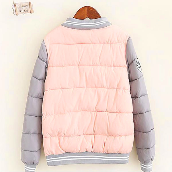 เสื้อแจ็คเก็ตกันหนาวตัวสั้น ผ้าร่มบุนวมอุ่น แขนยาวตัดสี