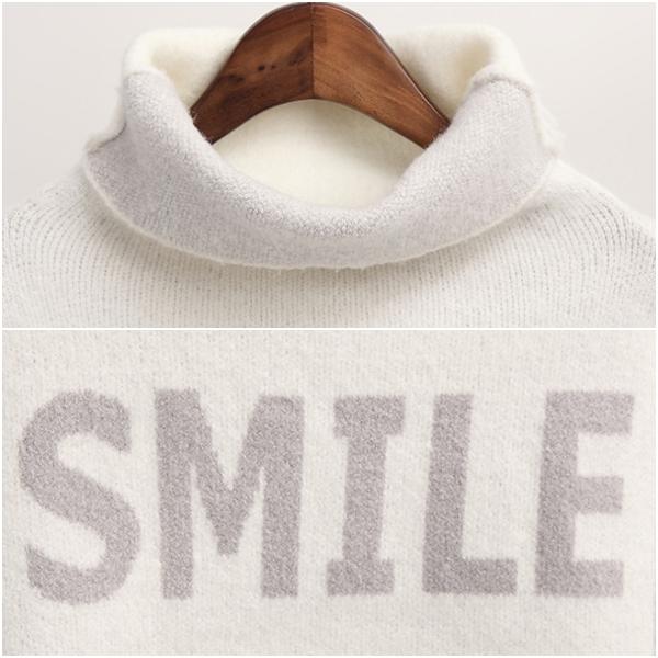 เสื้อสเวตเตอร์คอสูง ไหมพรมกึ่งวูลหนานุ่มถักลาย SMILE