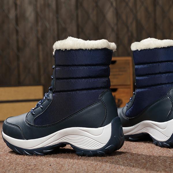 รองเท้าบูทหุ้มข้อ มีซับในเฟอร์ขนนุ่ม ลุยหิมะได้สบาย