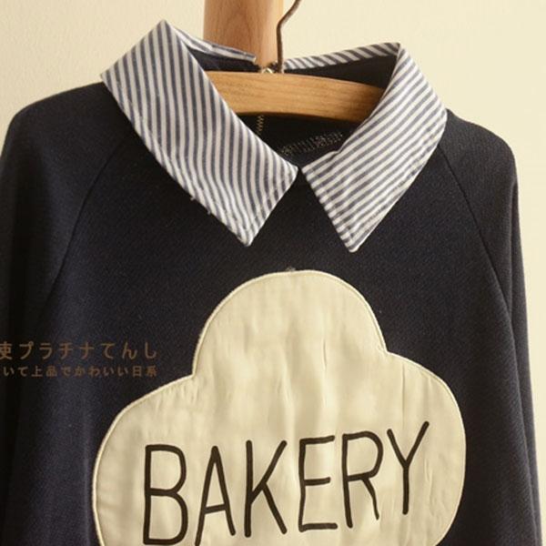 เสื้อสเวตเตอร์คอปกเชิ้ต แต่งลาย BAKERY น่ารัก