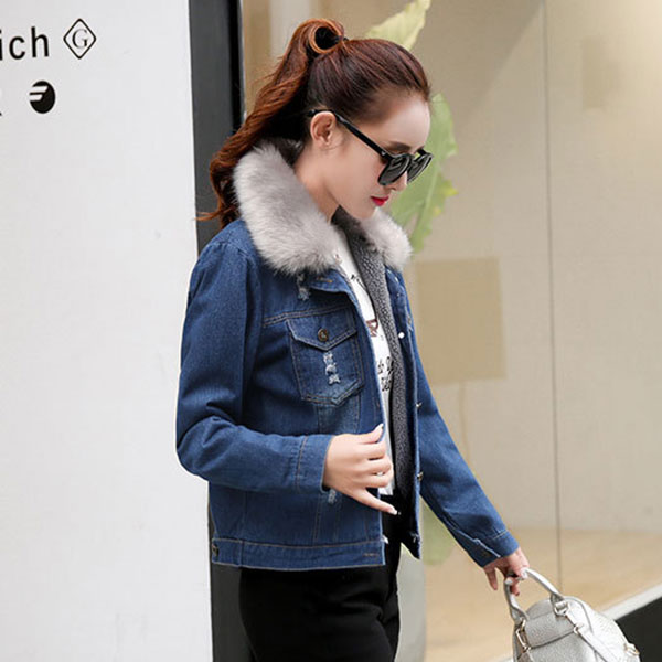 เสื้อโค้ทกันหนาวตัวสั้น ผ้ายีนส์ฟอกนิ่มซับผ้าขนแกะ ปกเฟอร์ถอดได้