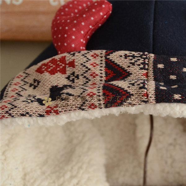 เสื้อโค้ทกันหนาววินเทจ มีฮู้ดแต่งหูกวาง ซับผ้าขนแกะหนานุ่ม