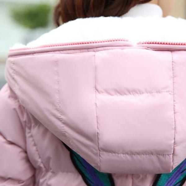 เสื้อโค้ทกันหนาว มีฮู้ดแต่งเฟอร์ขนนุ่ม หลังปักลายการ์ตูน