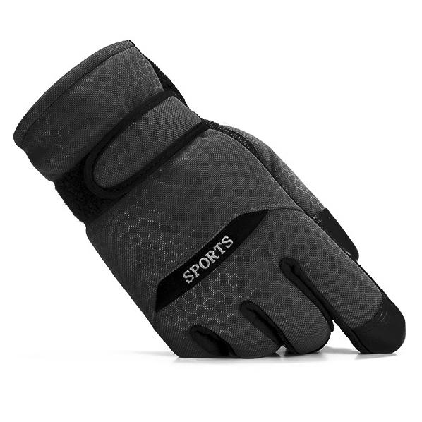 ถุงมือผู้ชายกันหนาวดีไซน์สปอร์ต มีซับในกำมะหยี่ (10171MM)