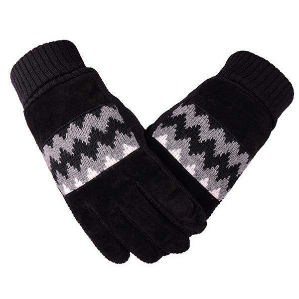 ถุงมือกันหนาวรุ่นหนา ผ้าไหมพรมแต่งหนังกลับ ซับในกำมะหยี่ (10170MM)