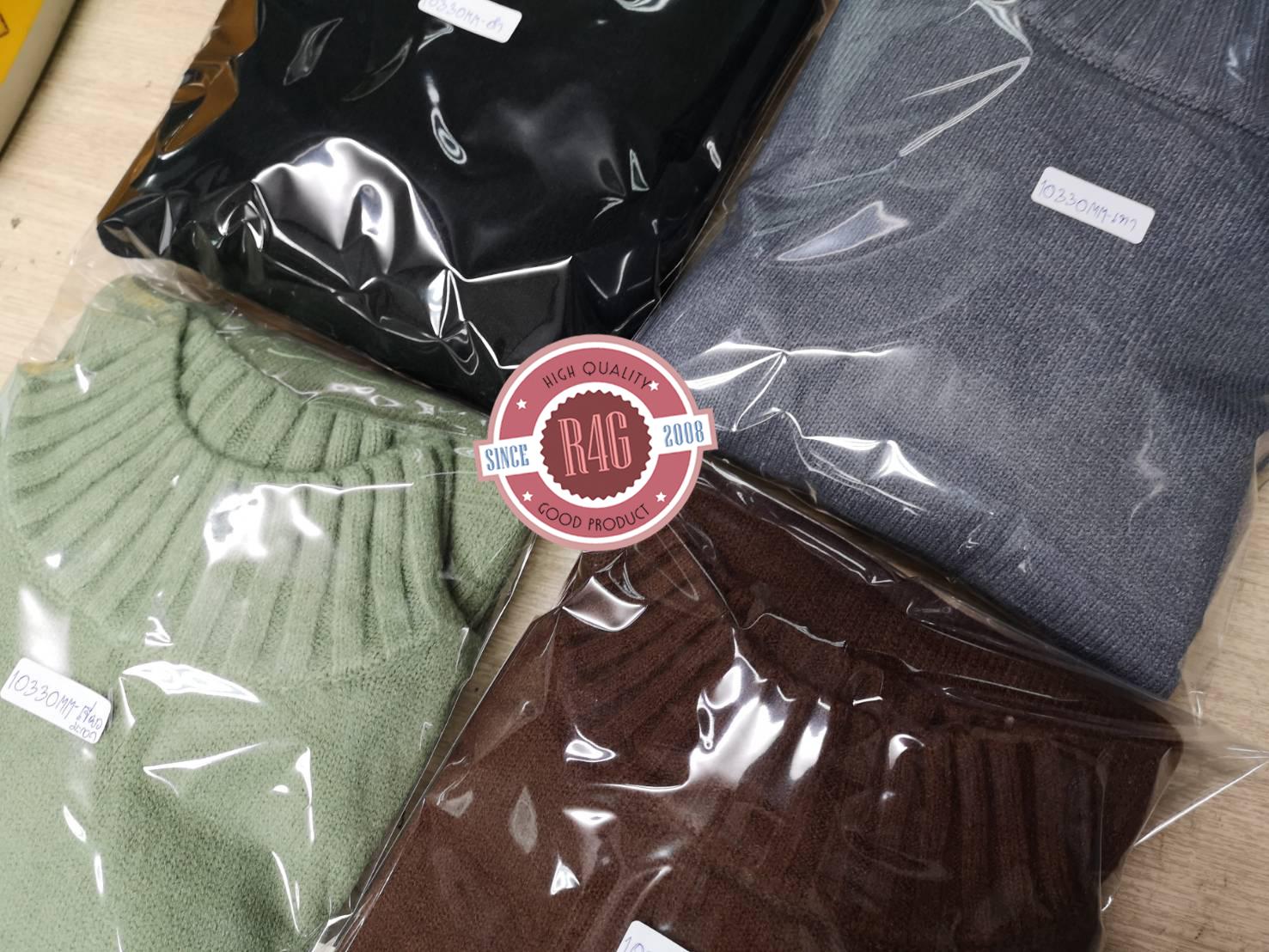 เสื้อสเวตเตอร์ไหมพรมกันหนาว คอปีน ผ้านุ่มนิ่ม ไม่คัน (10330MM)