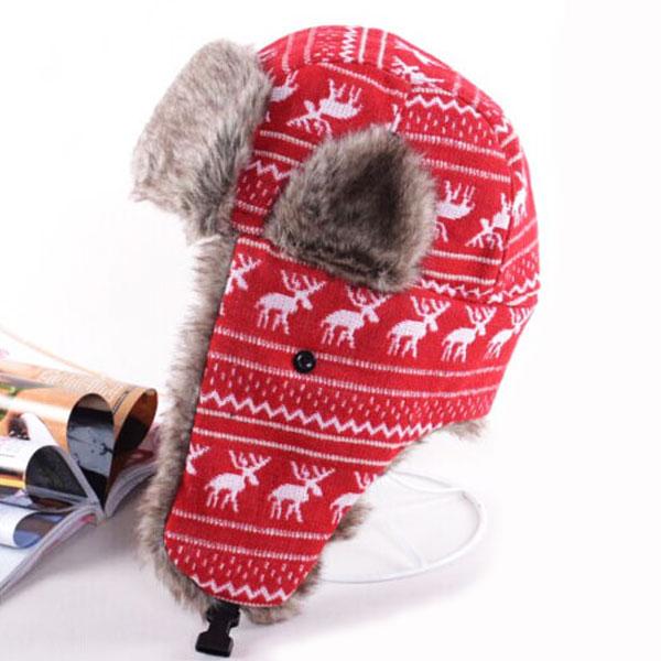 หมวกกันหนาวแบบปิดหู ผ้าทอลายกวางแต่งเฟอร์