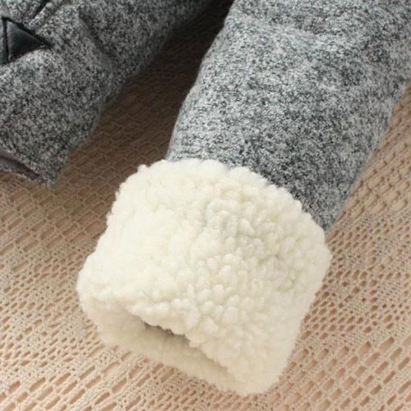 เสื้อโค้ทกันหนาววินเทจ ปกใหญ่แต่งขนแกะสองชั้น