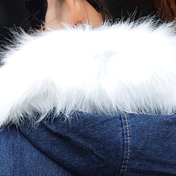 เสื้อโค้ทกันหนาวตัวสั้น ผ้ายีนส์นิ่มซับขนแกะ ฮู้ดแต่งเฟอร์ถอดได้