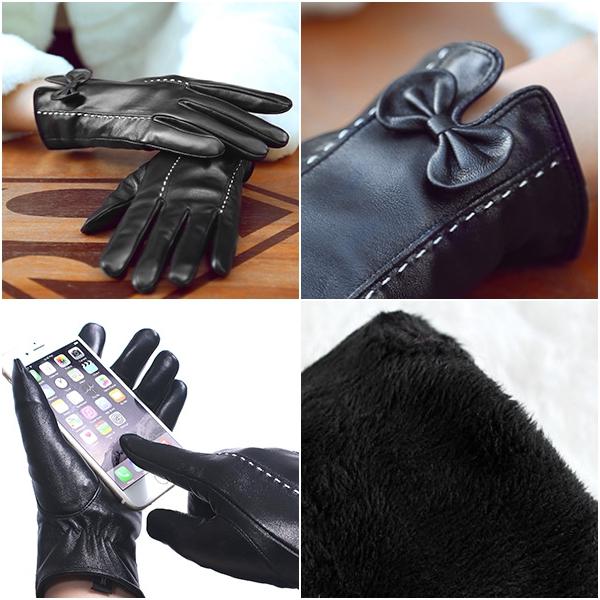 ถุงมือหนังกันหนาวแบบทัชสกรีน แต่งโบว์ ซับกำมะหยี่
