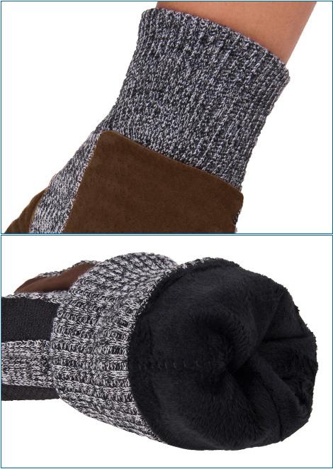 ถุงมือกันหนาวรุ่นหนา ผ้าไหมพรมแต่งหนังกลับ ซับในกำมะหยี่ (11944MM)