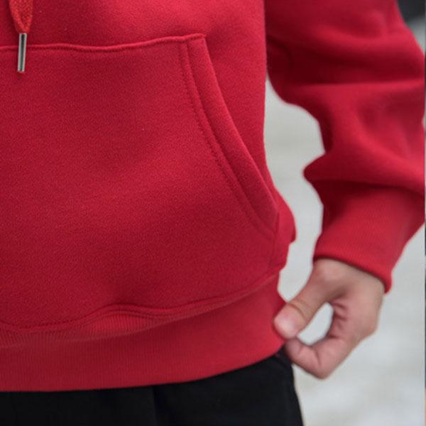 เสื้อสเวตเตอร์กันหนาว มีฮู้ด แต่งกระเป๋าหน้า